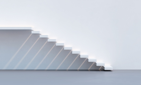minimalism style stairs illuminated by sun