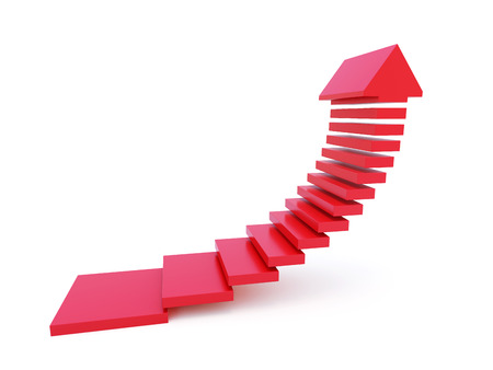 moving forward: stairs going  upward, isolated 3d render Stock Photo