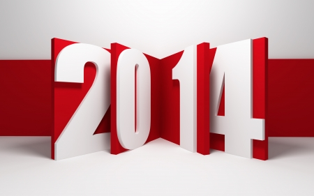 new year 2014, 3d render Stock Photo - 22510356