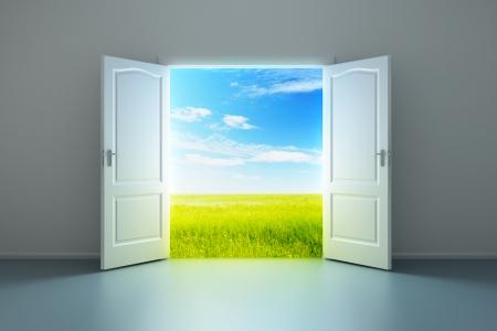 puerta abierta: Renderizado en 3D de la sala vac?a, con puerta abierta Foto de archivo