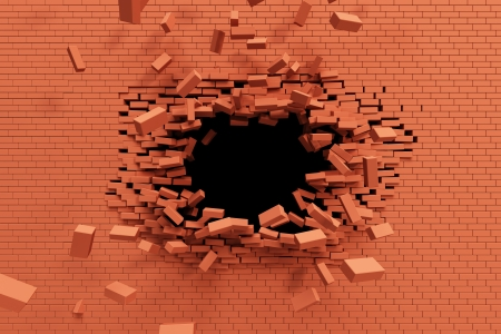 break: breaking brick wall, high resolution 3d rendering