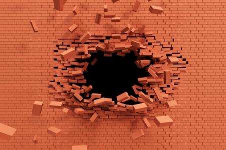 pared rota: pared de ladrillo de ruptura, de alta resoluci�n, 3D rendering Foto de archivo