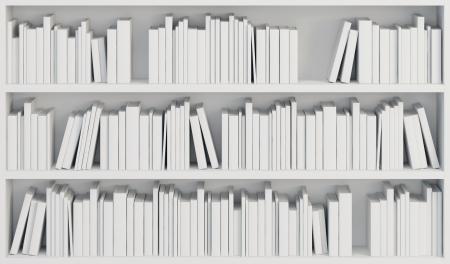 boekenkast met witte boeken, 3d render Stockfoto