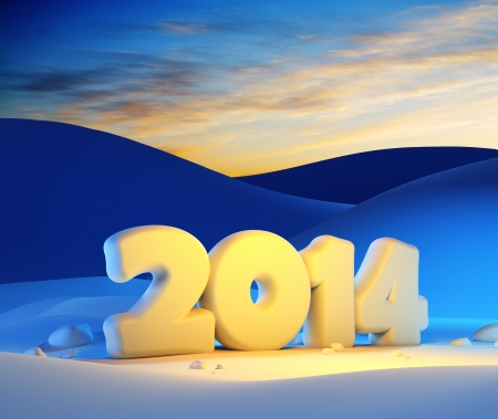 new year 2014, 3d render photo