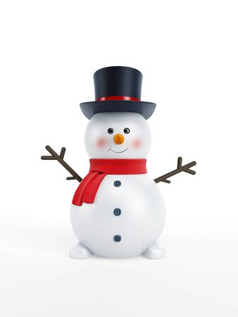 happy snowman isolated 3d rendering photo