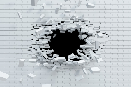 poškozené: lámání cihlové zdi, vysoké rozlišení 3D vizualizace Reklamní fotografie