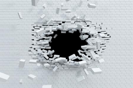 pared rota: que rompe la pared de ladrillo, de alta resoluci�n 3d
