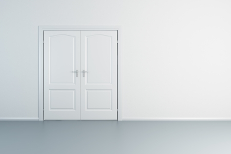 empty white room with closed door photo