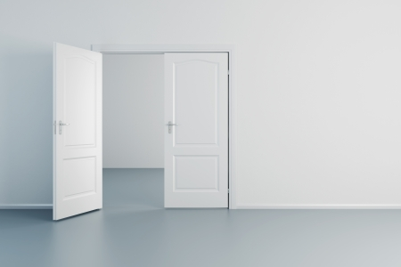 empty white room with opened door photo