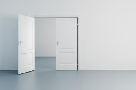 way of living: empty white room with opened door