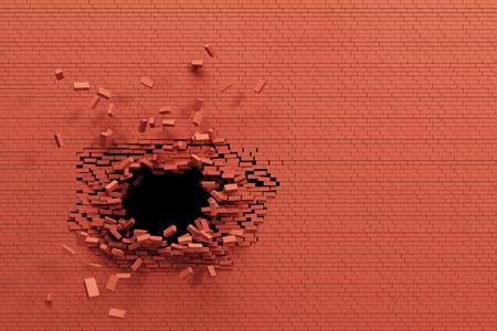 bursting: breaking brick wall, high resolution 3d rendering
