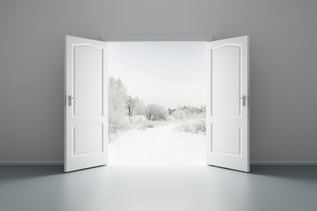 3d rendering the empty white room with opened door photo