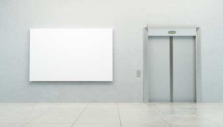 art gallery interior: blank picture in the elevator