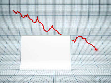 stock market crash: blank white billboard and falling graph on background