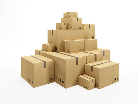 packing supplies: pile of cardboard box, 3d render