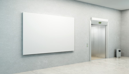 blank picture in the elevator's hall photo