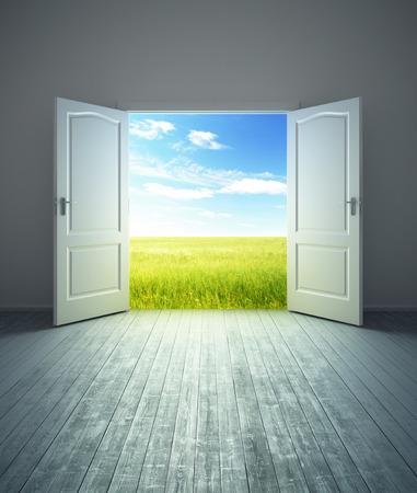 3d rendering the empty room with opened door photo