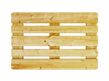 palet: plataforma de madera, aislado en blanco Foto de archivo