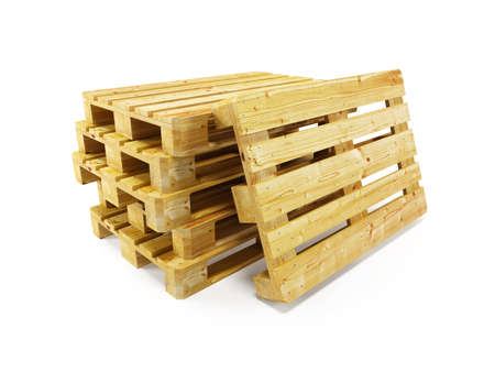 packaging equipment: wooden pallets, isolated on white Stock Photo