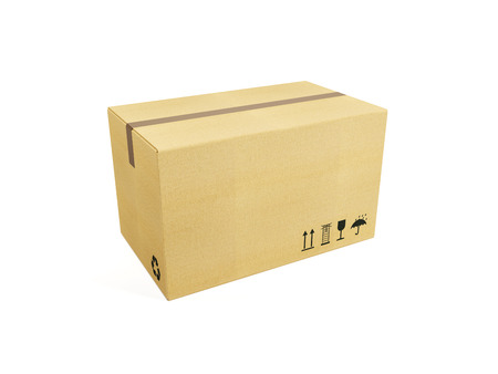 Cardboard box, isolated on white photo