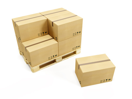 corrugated box: pallet with cardboard boxes, 3d rendering Stock Photo