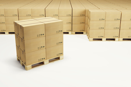 pallets with cardboard boxes, 3d rendering photo