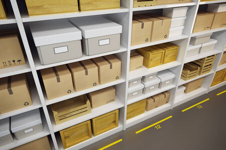 big boxes: warehouse with goods on the shelf