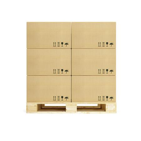 palet: palet con cajas de cartón, representación 3D