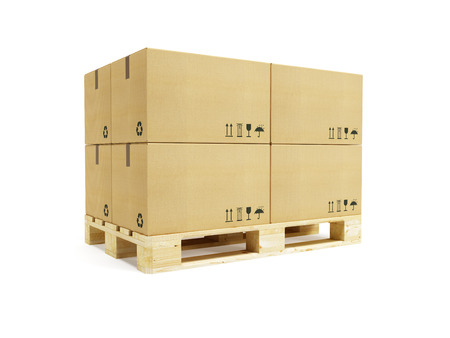 pallet with cardboard boxes, 3d rendering photo