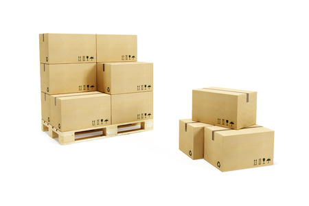 pallet with cardboard boxes, 3d rendering Banque d'images