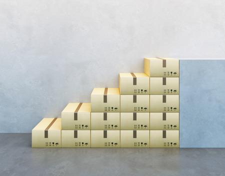 pile of cardboard box, 3d render photo