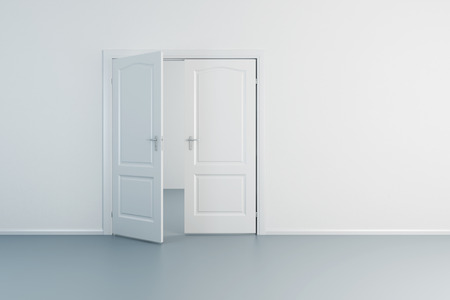 room door: empty white room with opened door