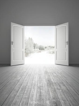 3d rendering the empty white room with opened door photo