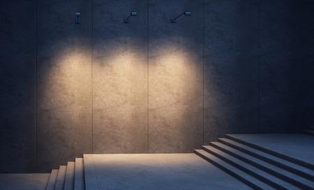 照らされたコンクリートの壁と階段夜
