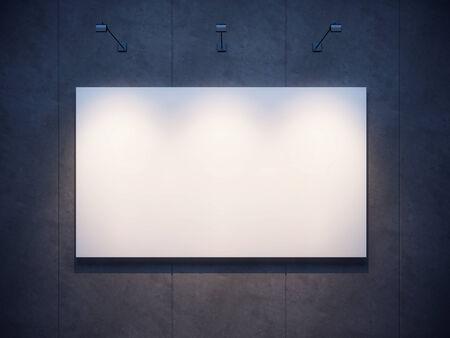 lighten: lighten blank billboard on a concrete wall at night