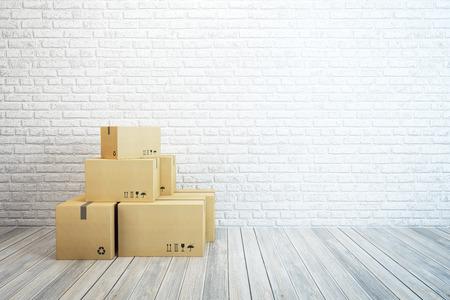 Verhuisdozen in een nieuw huis, 3D-rendering Stockfoto