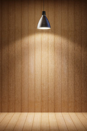 wooden room interior with lamp at night photo