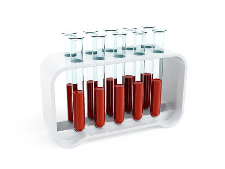 biochemistry: test tubes with blood samples, 3d isolated render