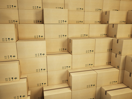 packing supplies: warehouse with stack of cardboard boxes