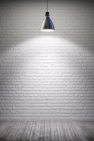white room interior with turn on lamp Standard-Bild
