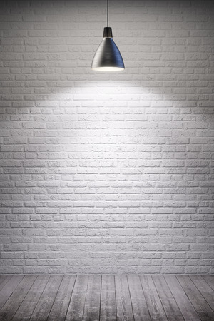 white room interior with turn on lamp Stock Photo