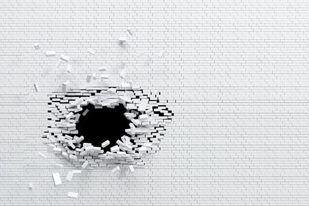 breaking brick wall, high resolution 3d rendering photo