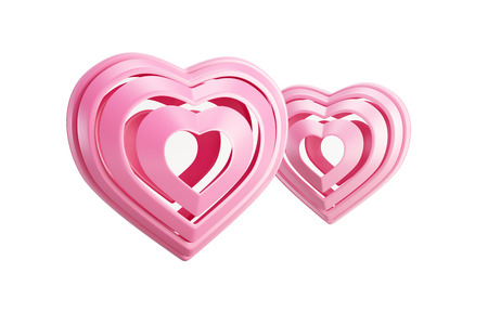 symbolic: pink symbolic valentine hearts, isolated 3d render