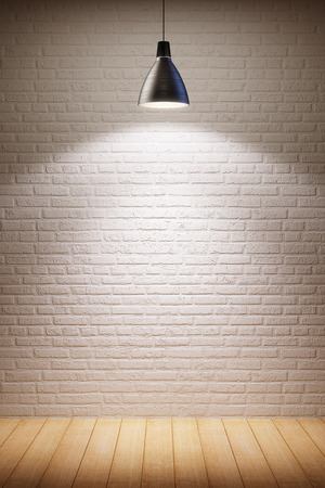 background wood: empty room interior with turn on lamp