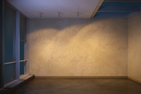 empty space: empty room at evening, 3d rendering Stock Photo
