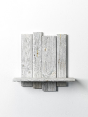 vitrine: modern wooden bookshelf on the white wall Stock Photo
