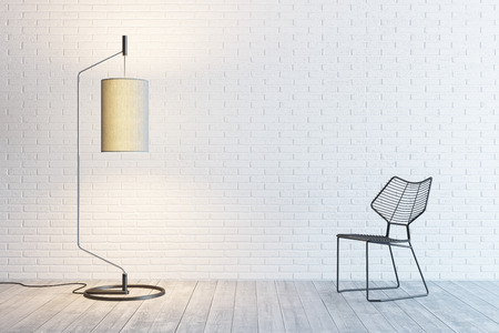 floor lamp: modern interior of the room with floor lamp and chair