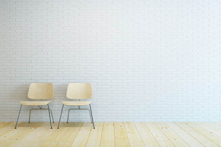 domestic scene: room with two modern chair and white brick wall