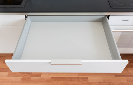 opened white empty drawer Stock fotó