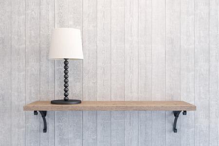 空の棚の上にテーブル ランプ 写真素材